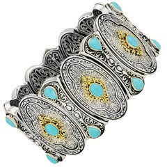 Konstantino Sterling Silver, Gold, and Turquoise Bracelet