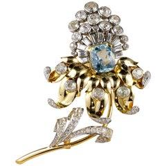 French Aquamarine 6.40 Carat Diamond Rare Flower Brooch
