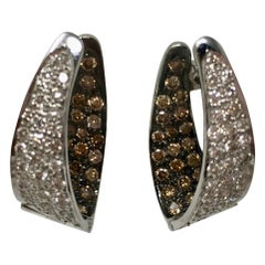 White and Brown Diamond Inside Out Hoop Earrings in 18 Karat White Gold