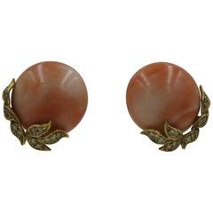 Natural Coral Diamond 18 Karat Gold Earrings Art Deco Hollywood Regency