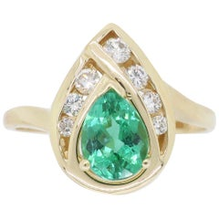 Emerald and Diamond Pear Shaped Ring