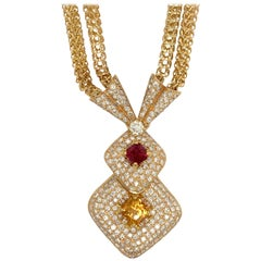 Retro Gold Necklace Apx 9 Carat Natural Round Diamond set with Citrine & Garnet