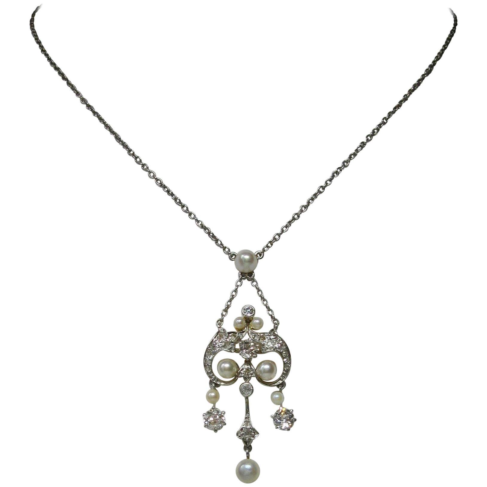 Edwardian Diamond Platinum Pearl Pendant Necklace Victorian, circa 1900