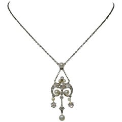 Edwardian Diamond Platinum Pearl Pendant Necklace Victorian, circa 1900
