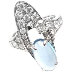 Bulgari Elysia Diamond Blue Topaz White Gold Ring