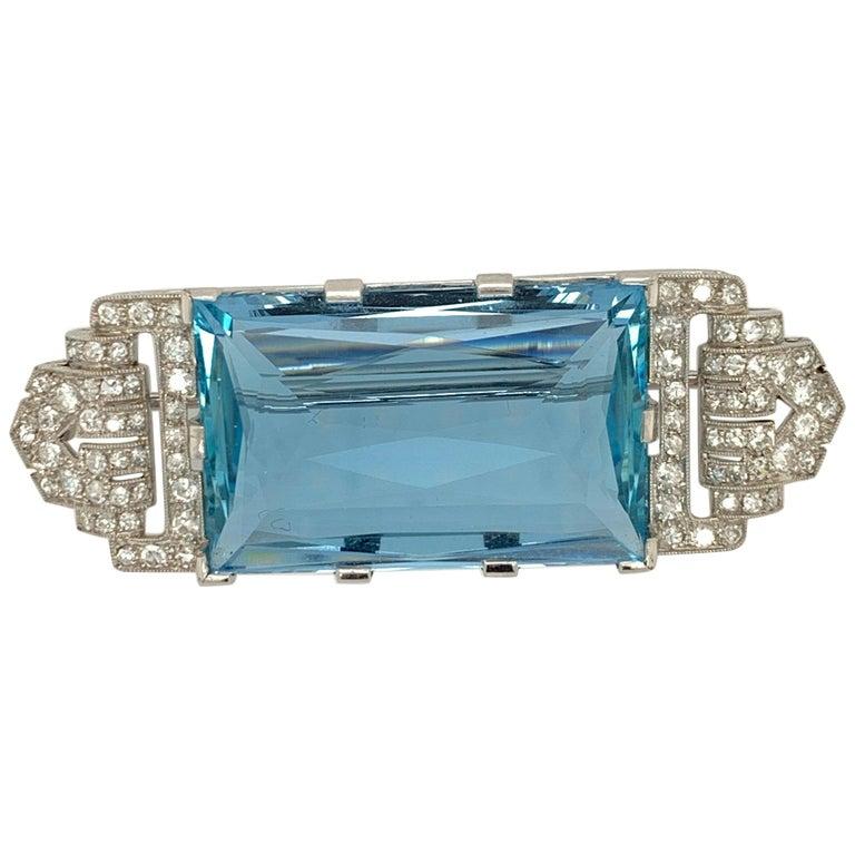 Art Deco Platinum Brooch Original J.H. Werner Natural GIA Aquamarine and Diamond For Sale