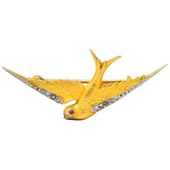 Victorian Diamond Ruby Platinum 14 Karat Gold Swallow Brooch