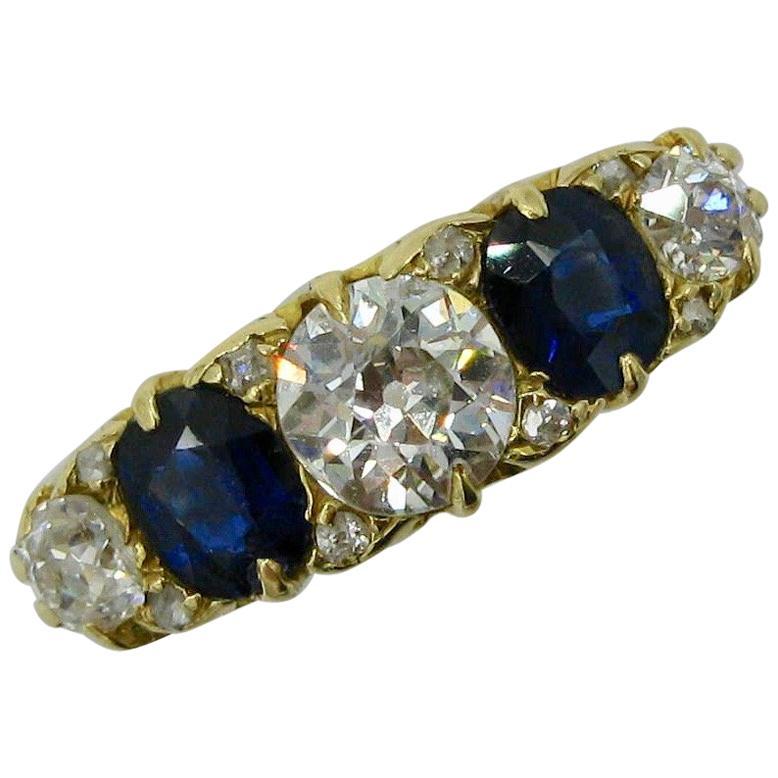 .62 Carat Diamond Sapphire Victorian Wedding Engagement Ring Five-Stone 18 Karat