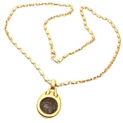 Bulgari Ancient Coin Link Chain Yellow Gold Pendant Necklace