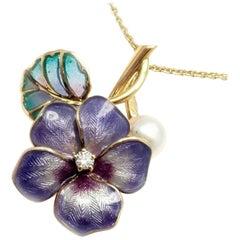 Mikimoto Diamond Pearl Enamel Cherry Blossom Flower Yellow Gold Pendant Necklace