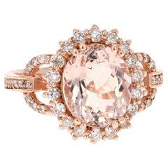 3.99 Carat Oval Cut Morganite Diamond Rose Gold Engagement Ring