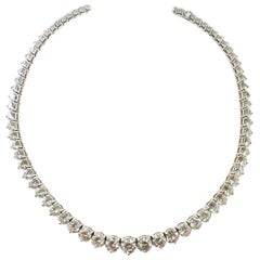 43 Carat Riviera Necklace in 18 Karat White Gold