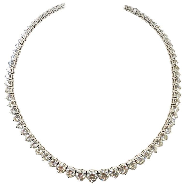 43 Carat Riviera Necklace in 18 Karat White Gold For Sale
