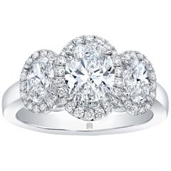 1.84 Carat Total Weight 3-Stone Oval Diamond Halo Ring