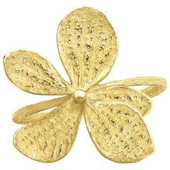John Iversen Yellow Gold Hydrangea Petal Tapered Band Ring