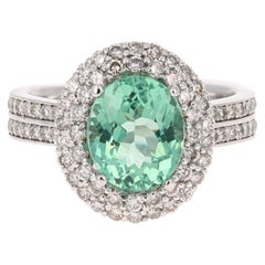 4.01 Carat Oval Cut Apatite Diamond White Gold Engagement Ring