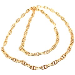 Hermes Chaine d'Ancre Anchors Yellow Gold Link Chain Necklace
