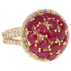 3.92 Carat Ruby Diamond 14 Karat Yellow Gold Cocktail Ring