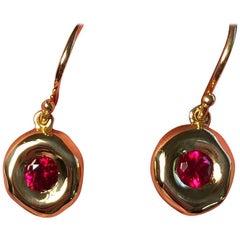 Fine Gemfields Mozambique Ruby and 18 Karat Gold Earrings