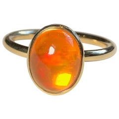 Fire Opal 18 Karat Gold Engagement Ring