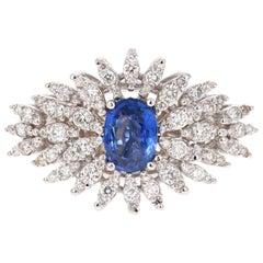 1.72 Carat Oval Cut Sapphire Diamond 14 Karat White Gold Cluster Ring