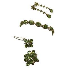 Natural Green Peridot and Diamond Approximate 36 Carat Gold Jewelry Set