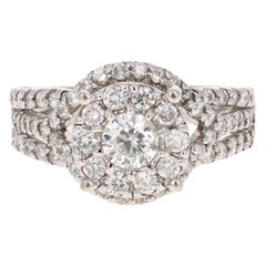 1.66 Carat Diamond 14 Karat White Gold Bridal Cluster Ring