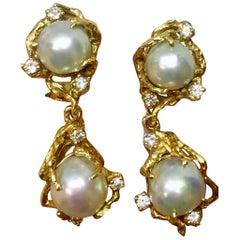 Arthur King 1970s Heavy VS Diamond Freeform Pearl Dangle Earrings