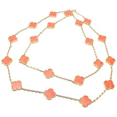 Van Cleef & Arpels 20 Motifs Coral Vintage Alhambra Yellow Gold Necklace