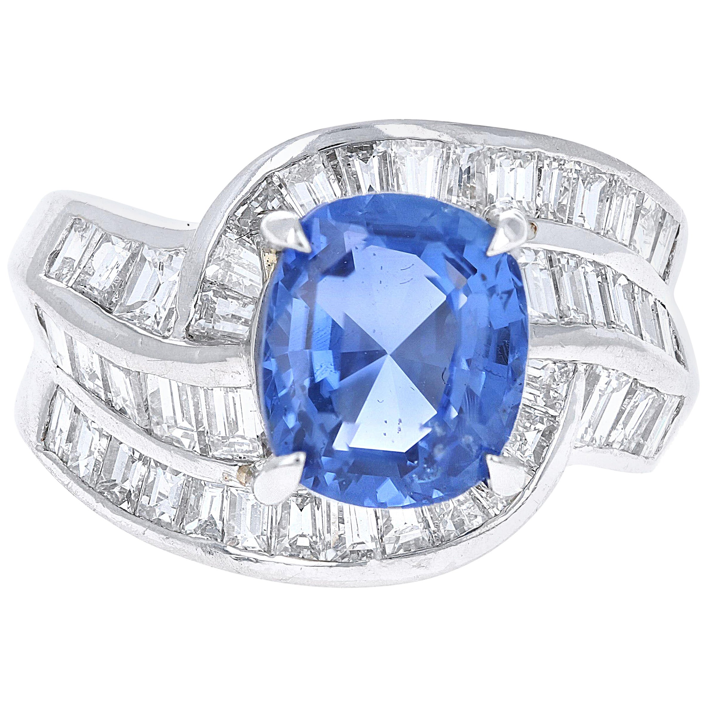 5.54 Carat GRS Certified Blue Sapphire and Diamond Ring