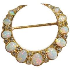 Art Nouveau Early 20th Century 15 Carat Opal Diamond Crescent Brooch