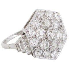 Platinum Diamond Hexagonal Plaque Ring, circa 1940s