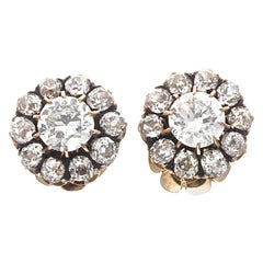 Victorian Diamond Gold Cluster Earrings