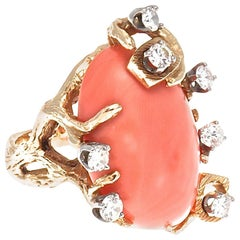 Retro Coral Diamond Gold Cocktail Ring