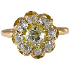 Yellow Diamond P,Q,R Color G-I Color Old-Mine Cut Daisy Ring