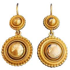 Victorian Hall & Co Victorian Era 15 Carat Gold Dome Drop Earrings