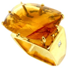 French Modernist Square Shape Yellow Gold, Diamond and Citrine Ring