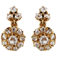 French Rose-Cut Diamond Daisy Cluster Drops