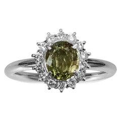 1.640 Carat Chrysoberyl 0.480 Carat Diamond Platinum Line Ring #15-#20