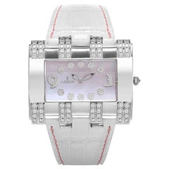 Corum 18 Karat White Gold Diamonds Leather Lady Watch