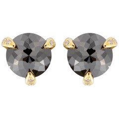 Jona Black Diamond White Diamond 18 Karat Yellow Gold Stud Earrings