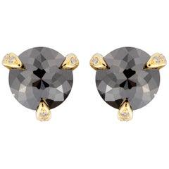 Jona Black Diamond White Diamond 18 Karat Yellow Gold Stud Earrings