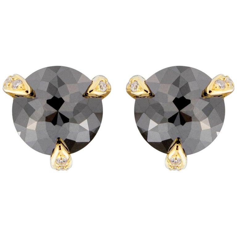 Jona Black Diamond White Diamond 18 Karat Yellow Gold Stud Earrings For Sale