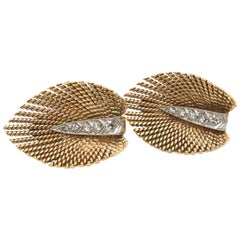 Retro 18 Karat Yellow Gold and Diamond Leaf Ear Clips