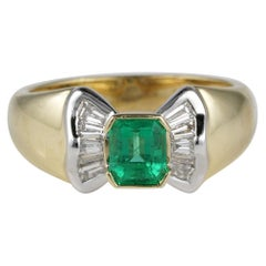 Vintage .85 Carat Colombian Emerald .60 Carat G VVS Diamond Sheer Quality Ring