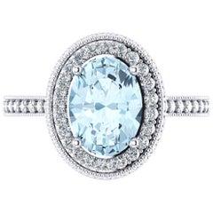 1.40 Carat Natural Aquamarine 0.51 Carat White Diamonds 18 Karat White Gold Ring