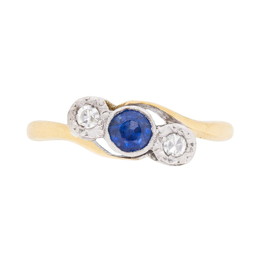 Art Deco Sapphire and Diamond Three-Stone Ring, circa 1920s