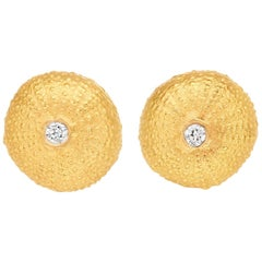 Lilly Hastedt Sea Urchin and Diamond Stud Earrings in 18 Karat Gold