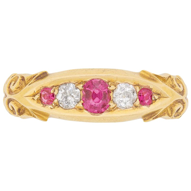 Victorian Ruby and Diamond Five-Stone Ring, circa 1900s
