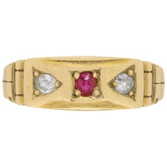 Vintage Victorian-Inspired Diamond and Ruby Three-Stone Ring, circa 1970s